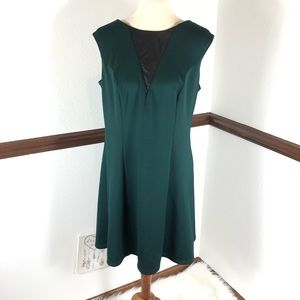 AGB sleeveless green with faux leather dress 14